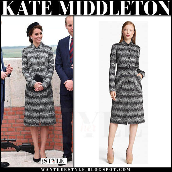 Kate Middleton in grey zigzag print Missoni coat what she wore