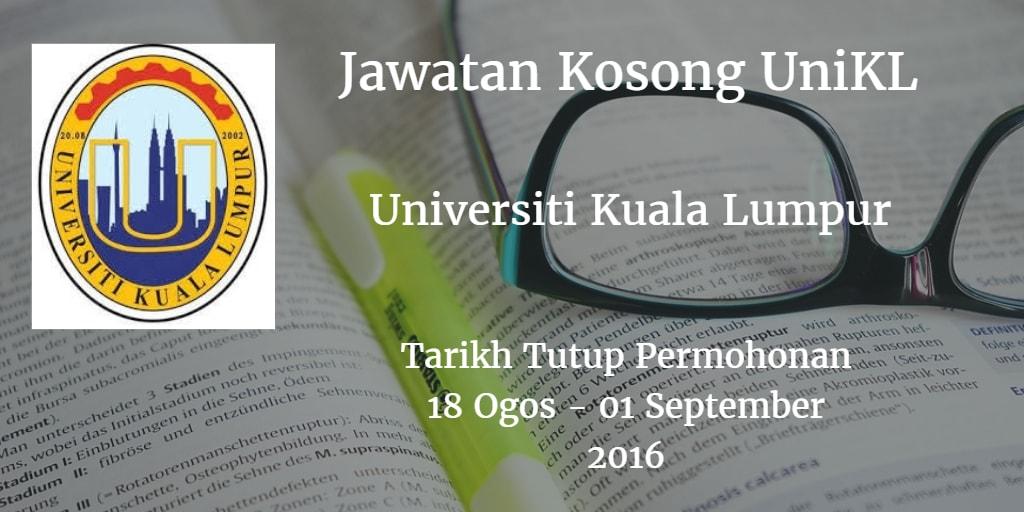 Jawatan Kosong UniKL 18 Ogos - 01 September 2016