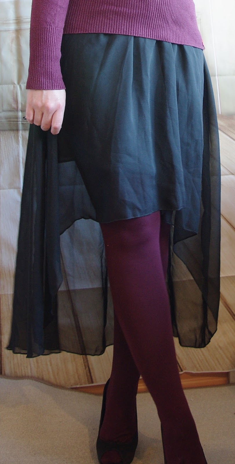 Vokuhila Skirt, Sweater and colored tights