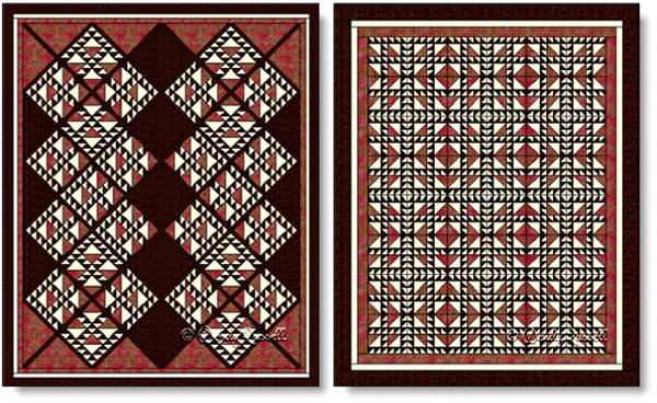 Quilts designed using the FOUR CROWNS quilt block - images © Wendy Russell