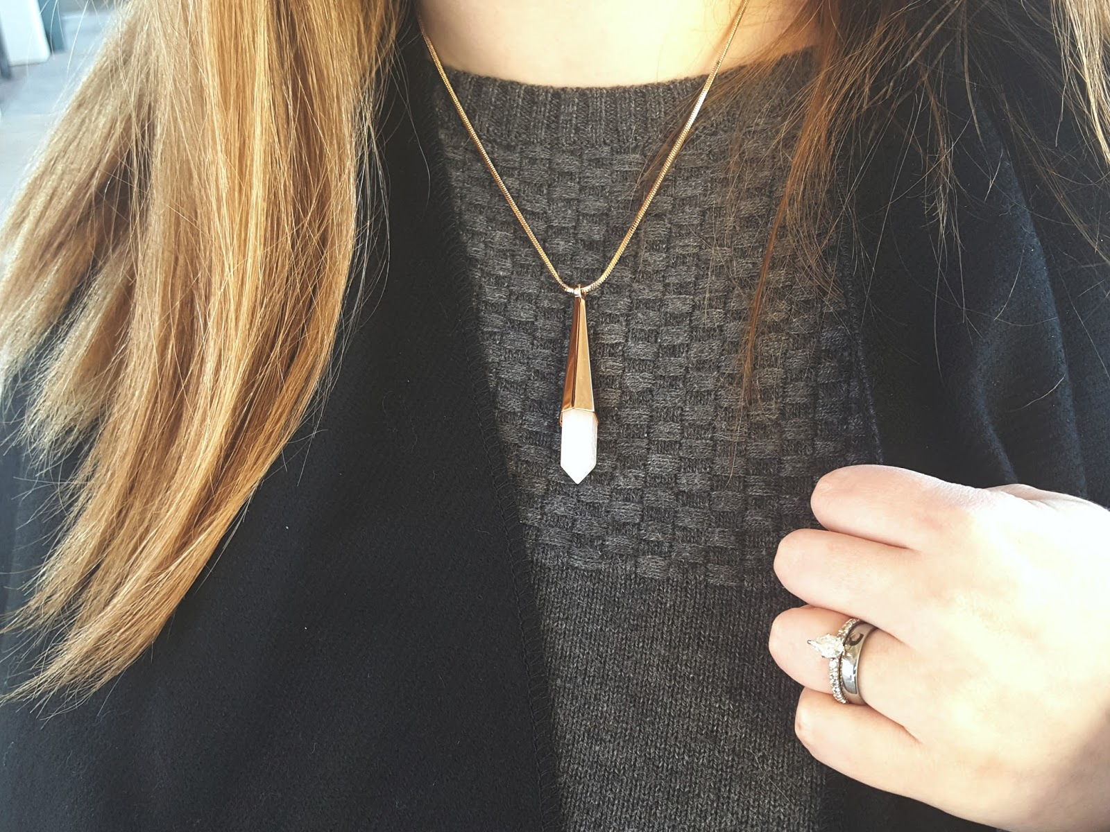 outfit-of-the-day, ootd, vince-camuto-rose-gold-crystal-pendant, jared-engagement-ring, grey-talbots-sweater