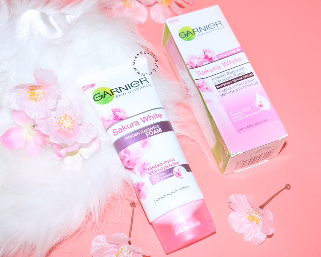 Review Garnier Sakura White Pinkish Radiance Foam Essence Serum 18ml Spf21 Gentle