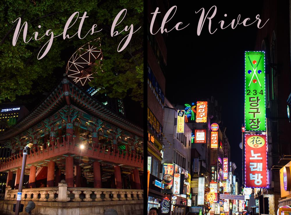seoul Cheonggye river night time