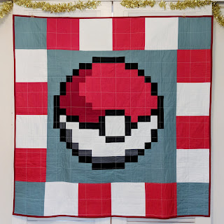 Pokeball quilt Pokemon pixelated quilt