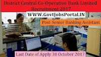 Thane District Central Co-Operative Bank Limited Recruitment 2017-205 Junior Banking Assistant, Senior Banking Assistant