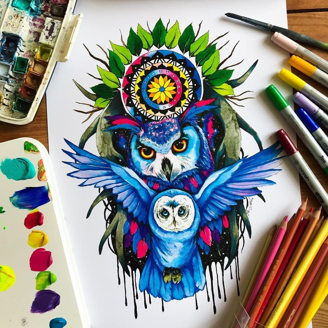 09-Owl-king-Pixie-Cold-Fantasy-Animals-in-Different-Style-Drawings-www-designstack-co
