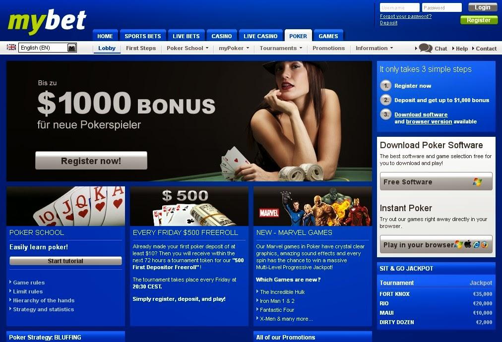 Mybet Poker Screen
