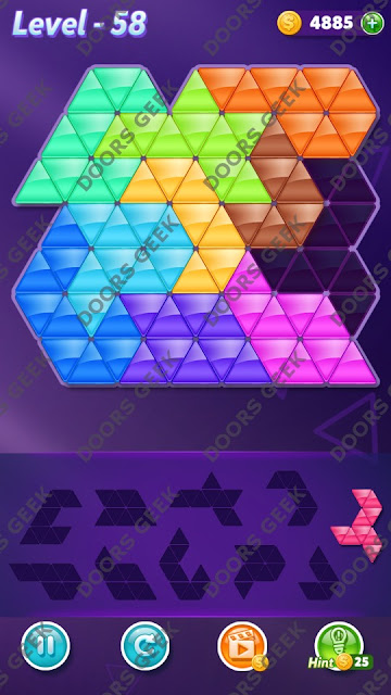 Block! Triangle Puzzle Master Level 58 Solution, Cheats, Walkthrough for Android, iPhone, iPad and iPod