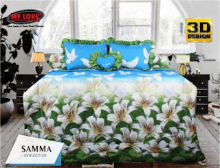 Sprei dan bed cover my love motif Samma