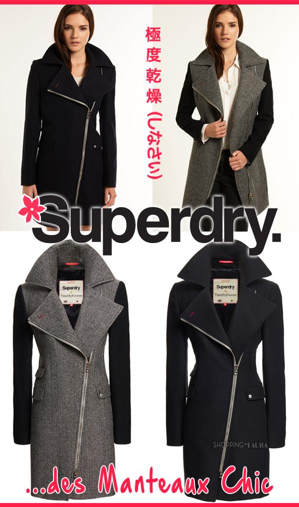 Manteau zippé marine ou bicolore SUPERDRY