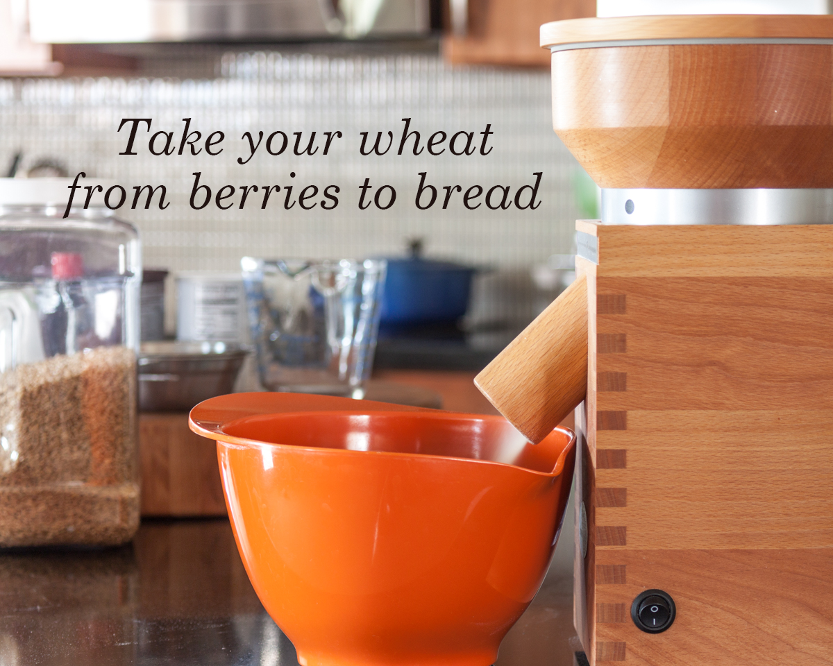 grinding flour in my kitchen with the Komo Classic Grain Mill