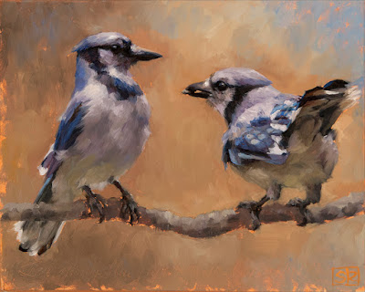 An oil painting of two bluejays with a sunflower seed on a branch by fine artist Shannon Reynolds