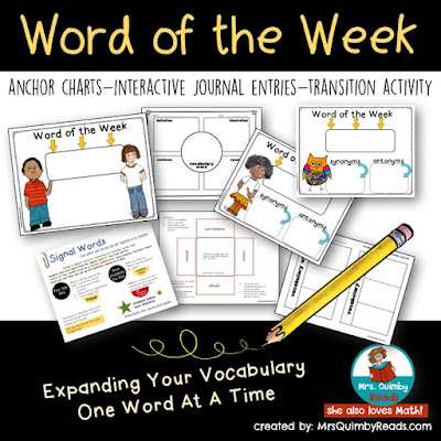 vocabulary teaching resources, word of the week, word study, language arts, elementary grades