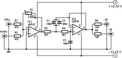 Subwoofer Filter and Low Pass Filter with LM741 ~ Circuit