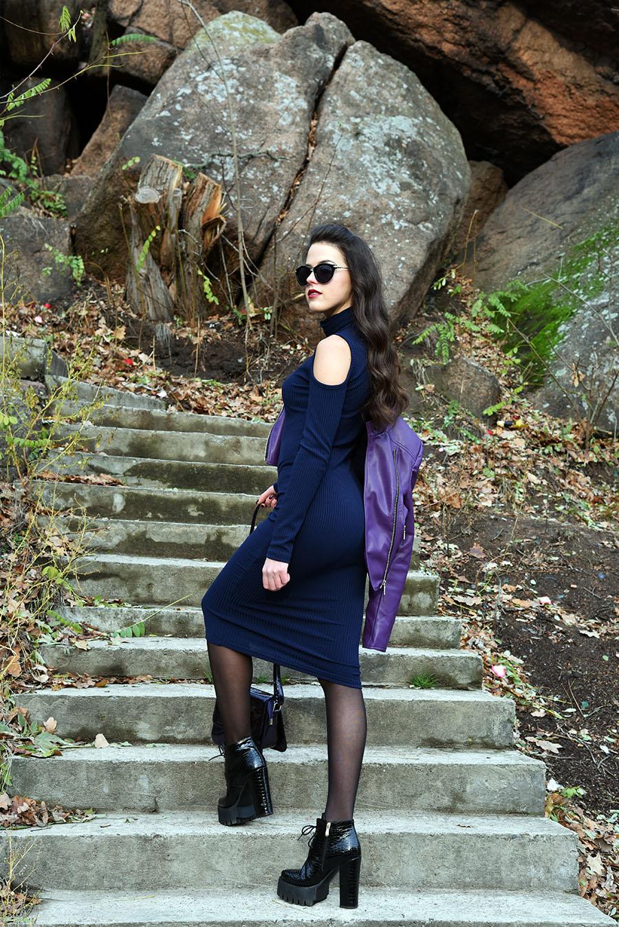 женская кожаная куртка, женская куртка, платье с открытыми плечами