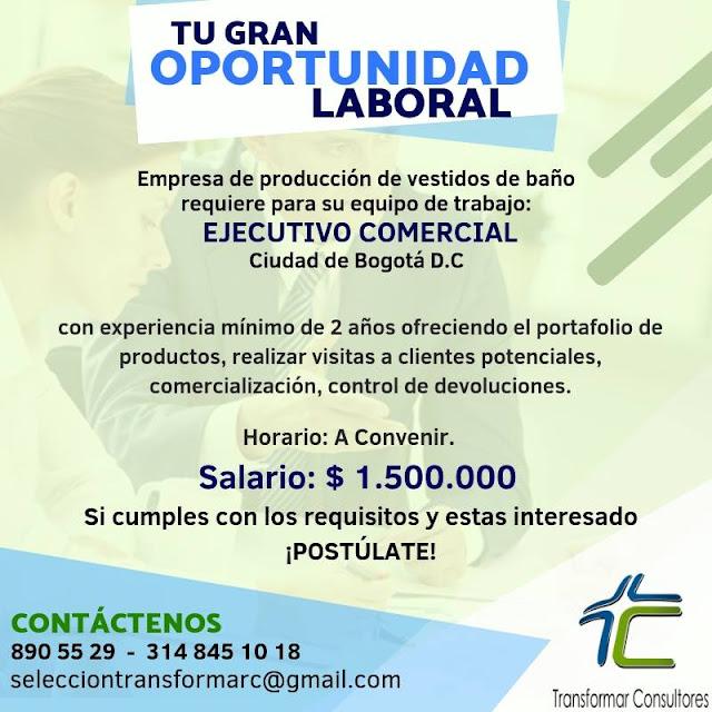 Ejecutivo Comercial en Bogota