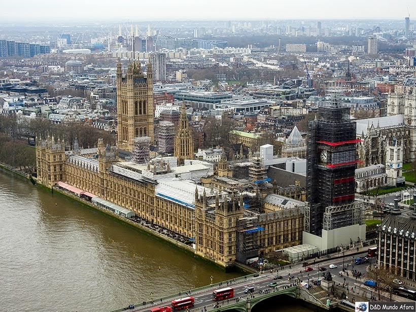 Big Ben visto da London Eye: como visitar a roda-gigante de Londres