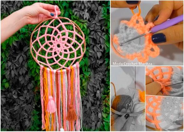 dreamcatcher, atrapa sueños,  crochet, ganchillo, flor de loto, mandala
