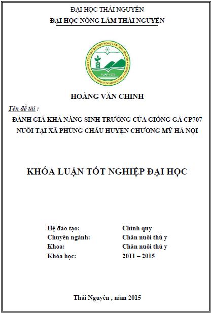 Đánh giá khả năng sinh trưởng của giống gà CP707 nuôi tại xã Phùng Châu huyện Chương Mỹ Hà Nội
