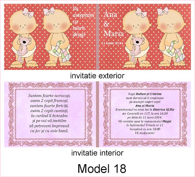 invitatii botez fara foto gemeni carte postala dubla