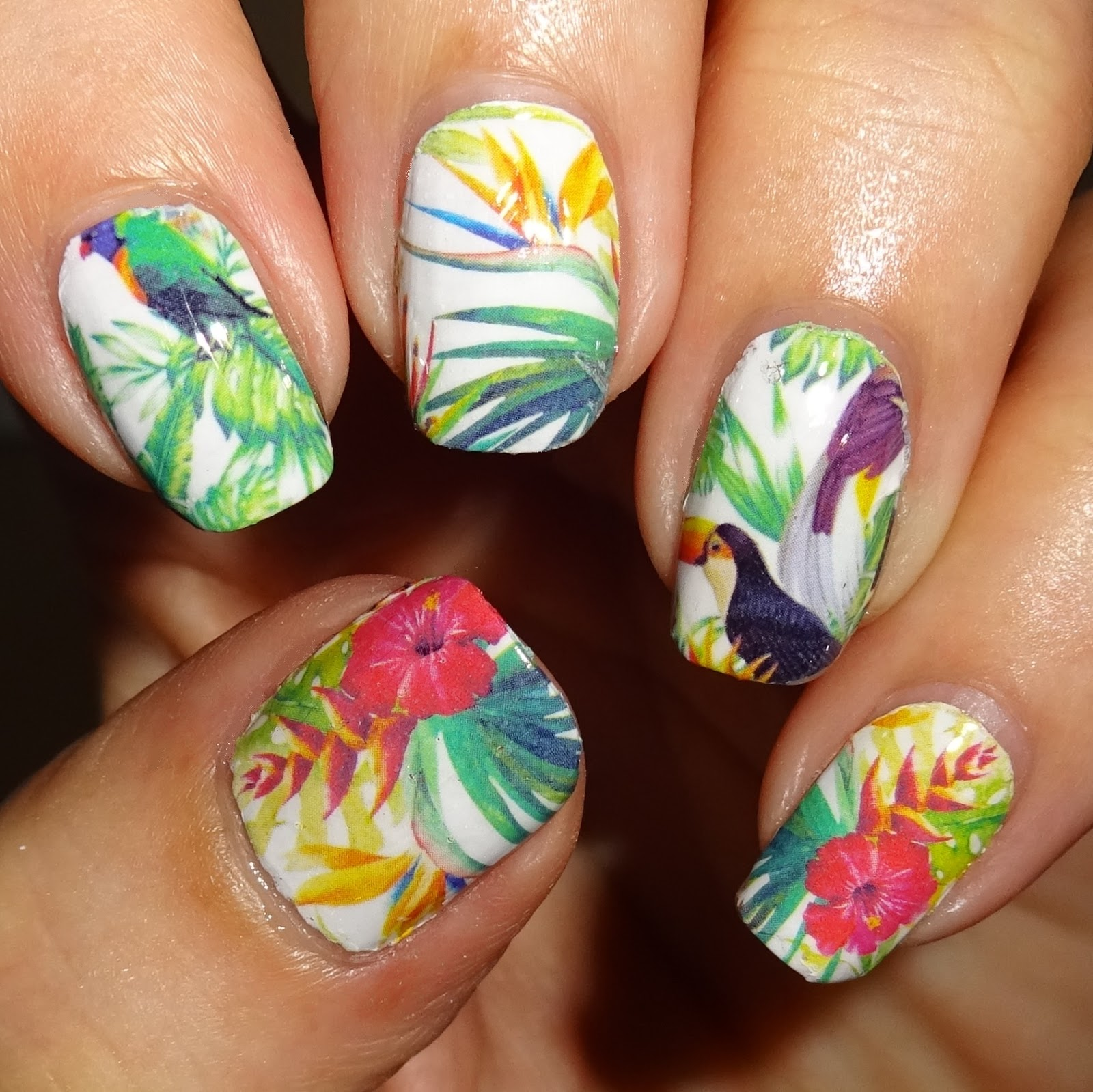 Wendy\'s Delights: Toucan Tropics Nail Art Water Wraps from Sparkly Nails