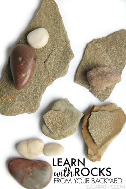 Learn with rocks, including teaching kids to tell time, math, literacy, fine motor, sensory.