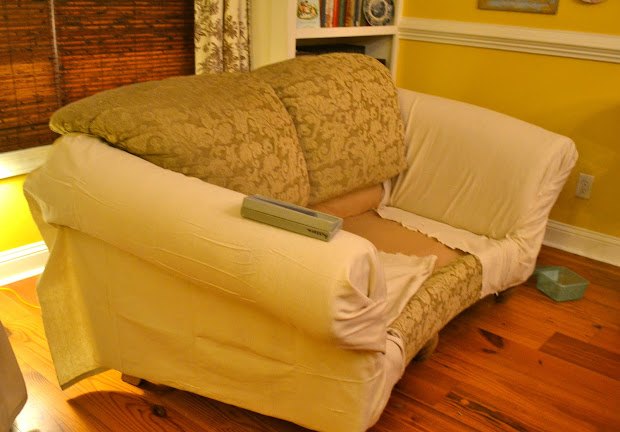 DIY No Sew Couch Slipcover
