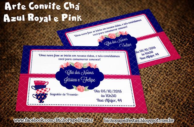 Convite Chá de Cozinha casa nova Azul Royal e Pink