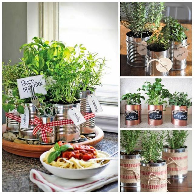 Lembrancinha ervas frescas em latas