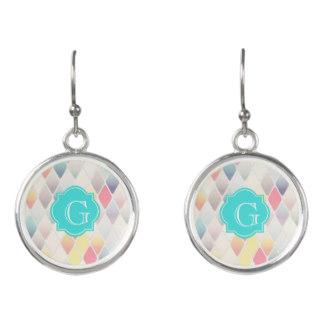 Earrings for Mom on Mother's Day - Pastel Diamond Pattern Quatrefoil Monogram Earrings