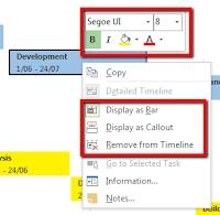 Formatting option for project timeline