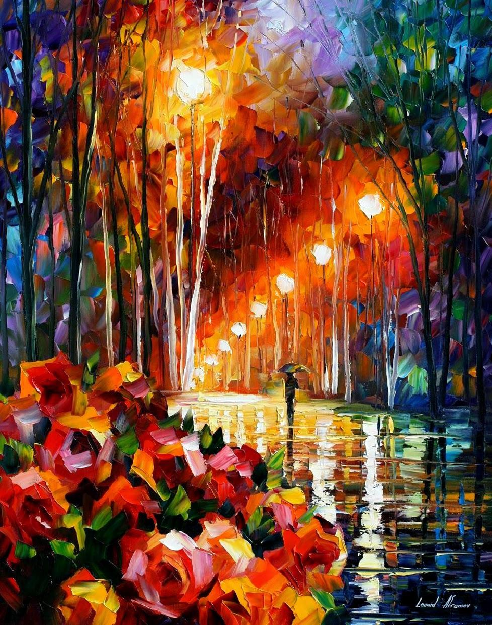 Parque de Flores - Pinturas de Leonid Afremov | O mestres da  espátula