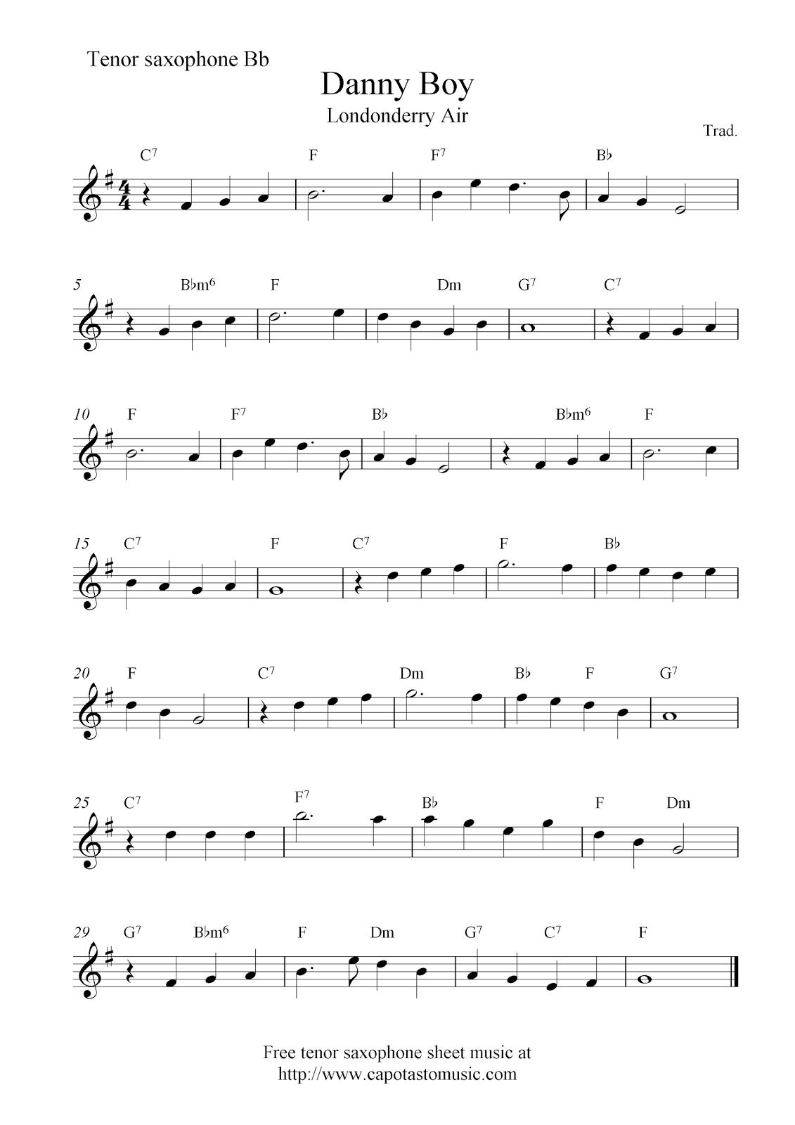 Danny Boy (Londonderry Air), free tenor saxophone sheet music notes