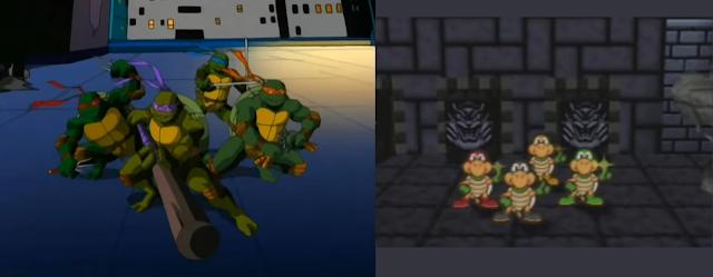 Teenage Mutant Ninja Turtles versus Koopa Bros. Ninjakoopas Paper Mario comparison posing