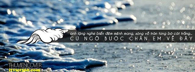Ảnh bìa Facebook biển & tâm trạng - cover FB timeline, Anh lặng nghe biển đêm mênh mang sóng vỗ tràn từng bờ cát trắng