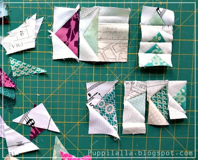 Flying geese, scraps, scrap busting, improv quilting, Puppilalla
