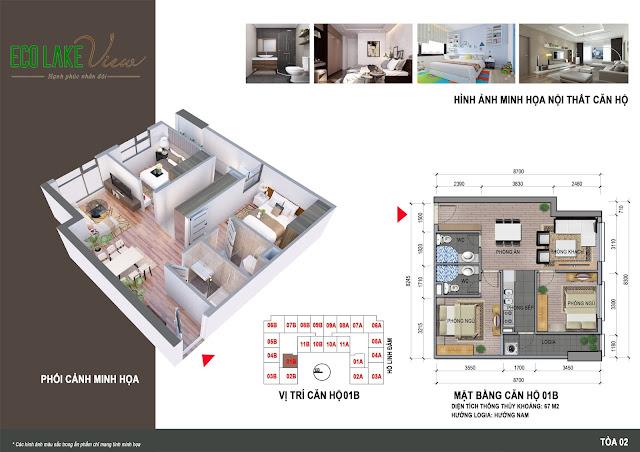 Thiết kế căn hộ 01B tòa HH2 Eco Lake View