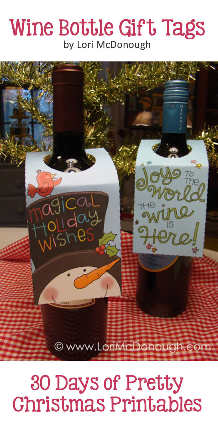 Christmas Wine Bottle Gift Tags. Freebie by Lori McDonough. Hosted by GradeONEderfulDesigns.com