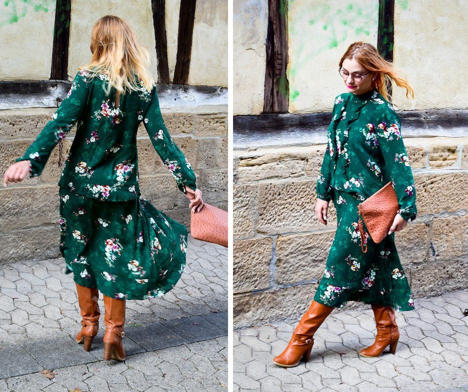 Grün Trendfarbe Herbst 2018, Grünes Kleid mit Stiefeln