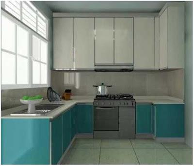 dapur minimalis ukuran 2x2 warna biru