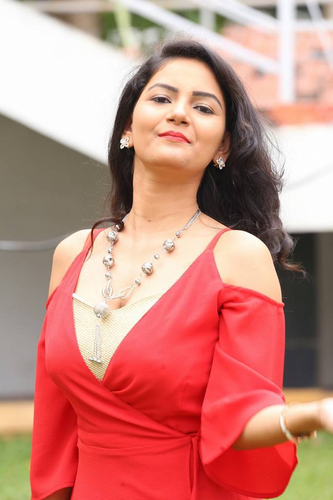 Nandini In Spicy Red Suit At Prabhas Movie Launch