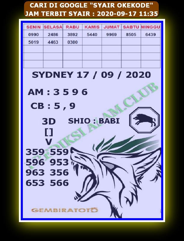 Kode syair Hongkong Kamis 17 September 2020 243
