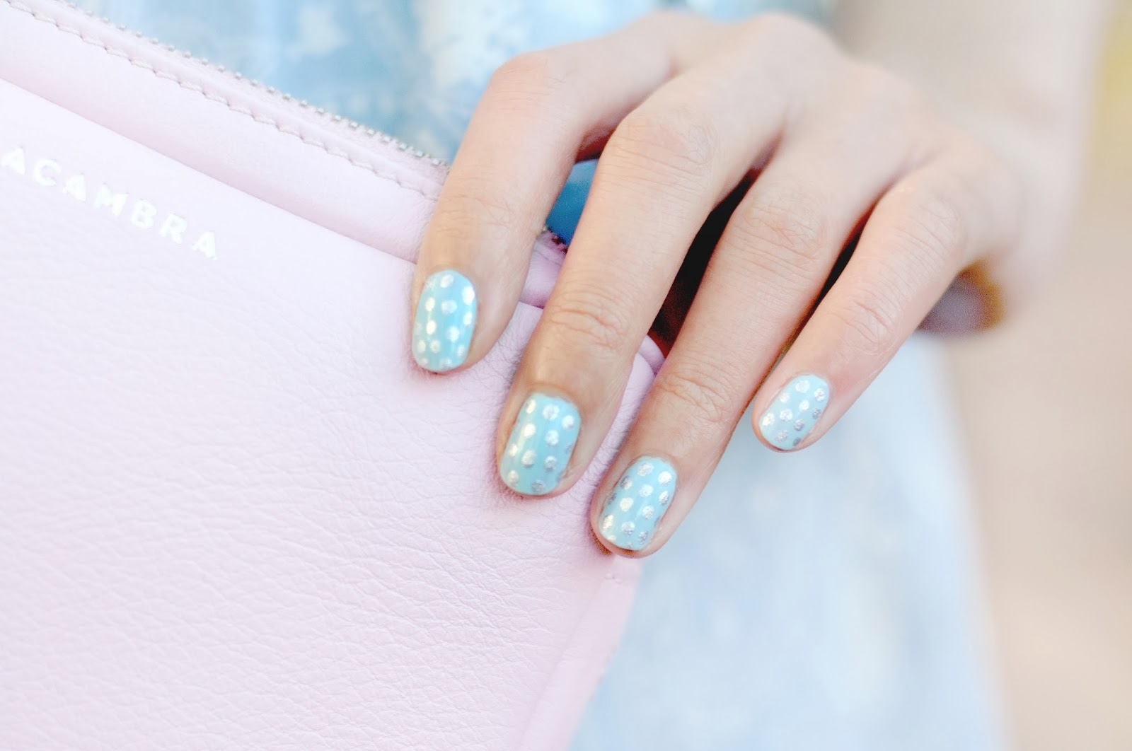 Polka dot nail art, spotty nail art, winter coloured nails, winter themed nail art,