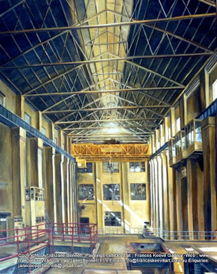 oil painting of Turbine Hall, White Bay Power Station by industrial heritage artist Jane Bennett