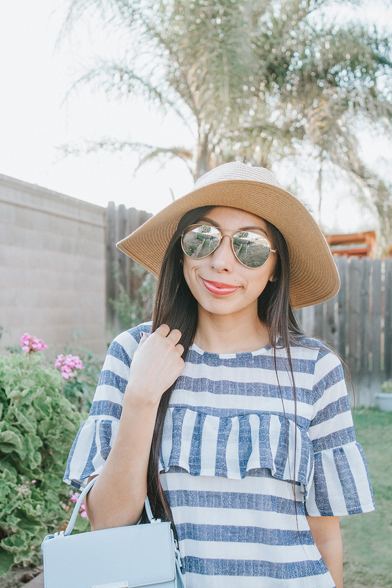 blue striped ruffle blouse summer outfit