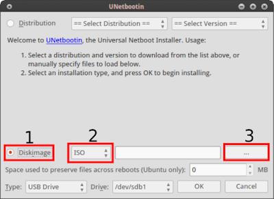 Lalu pilih Diskimage, pilih ISO, lalu pilih file iso-nya