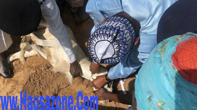 Hotunan Shugaba buhari lokacinda yake yanke ragon Sallah