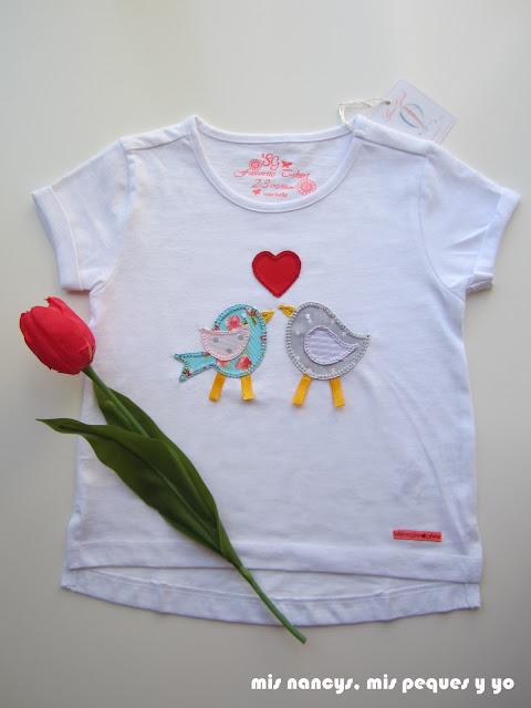 mis nancys, mis peques y yo, tutorial aplique en camiseta, birds in love, camisetas terminada