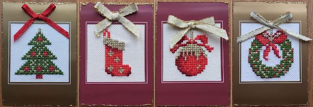 Cross stitch ATC cards with Christmas tree, Christmas Stocking, Christmas Bauble, and Christmas Wreath