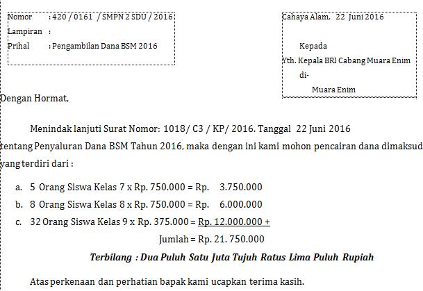 gambar surat pengantar pegambilan dana BSM ke BANK